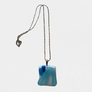 Jewelry - Handmade Glass pendant with silver necklace NWB